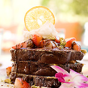 Le Parker Meridien in Palm Springs, with decor by famed designer Joseph Adler, is a hot, trendy boutique hotels, that also serves as a hideaway for celebrities escaping Los Angeles. Pictured is the Chocolate Decadence French Toast, covered in strawberries, pistachios and Valhrona chocolate sauce, from Norma's, the hotel's morning restaurant.  .