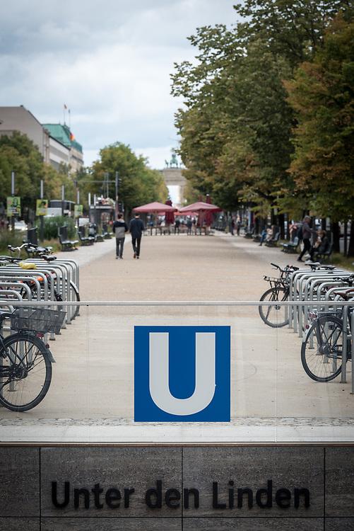 16 September 2021, Berlin, Germany: U-bahn (underground train) station at the historical site of Unter den Linden in Berlin.