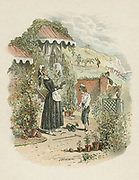 Orphaned David Copperfield introduces himself to his aunt Betsy Trotwood. From Charles Dickens 'David Copperfield' (1849-1850). Illustration by 'Phiz' (Hablot Knight Browne - 1815-1882), Dickens' main illustrator.