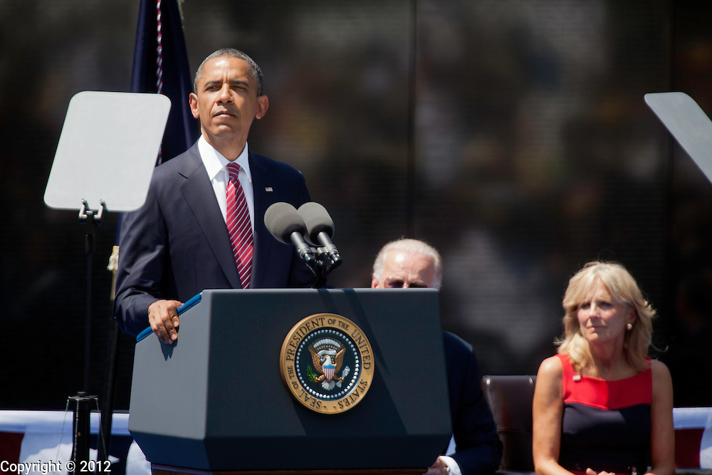 President Barack Obama speaks during the United States of America Vietnam War Commemoration National Announcement and Proclamation Ceremony at the Vietnam Veterans Memorial Wall.