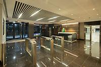 02/Septiembre/2020 Madrid.<br /> Edificio Adequa iluminado por AOM.<br /> <br /> ©JOAN COSTA
