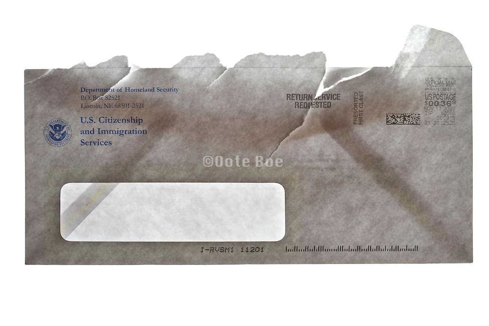 US Citizenship and Immigration Services opened envelope
