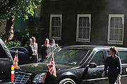 © licensed to London News Pictures. LONDON, UK  25/05/11. Smoke comes from under the hood of the Presidnet's 2nd car. Barack Obama and David Cameron meet in Downing Street during US President Obama's first State Visit to the United Kingdom. Please see special instructions. Photo credit should read Stephen Simpson/LNP