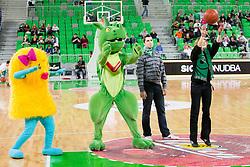 Mascot Xobi during basketball match between KK Union Olimpija and Real Madrid (ESP) in 5th Round of Regular season of Euroleague 2012/13 on November 9, 2012 in Arena Stozice, Ljubljana, Slovenia. (Photo By Vid Ponikvar / Sportida)
