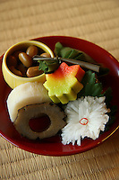 """Shojin Ryori Temple Cuisine - Zen Temple food or """"Shojin Ryori"""" is vegetarian cuisine at its most refined consisting of pickled vegetables, plus a variety of tofu dishes beautifully arranged on lacquerware and an assortment of ceramic plates."""
