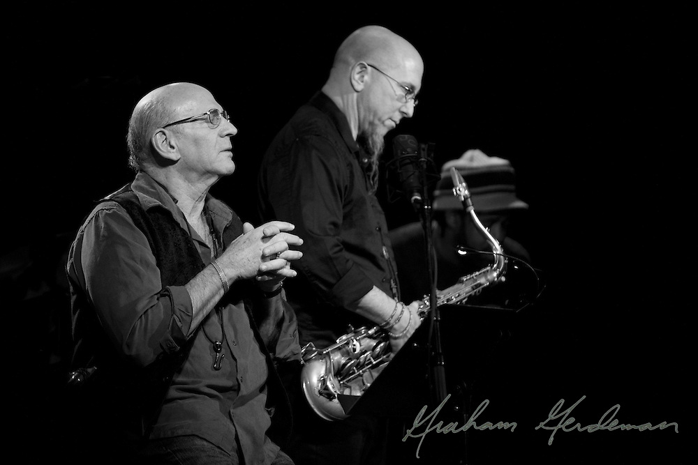 """Saxophonists David Liebman and Jeff Coffin concentrate a solo during their tribute performance to Miles Davis's """"On the Corner"""" sessions."""
