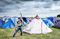 A young festivalgoer at the Brownstock Festival in Essex.