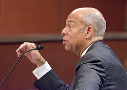 June 21, 2017 - Washington, District of Columbia, United States of America - Former United States Secretary of Homeland Security Jeh Johnson testifies before the US House Permanent Select Committee on Intelligence Russia Investigative Task Force Hearing on Capitol Hill in Washington, DC on Wednesday, June 21, 2017..Credit: Ron Sachs / CNP (Credit Image: © Ron Sachs/CNP via ZUMA Wire)