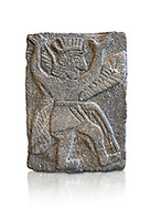 Hittite relief sculpted orthostat panel od a god from Tell Halaf, ancient Guzana, Syria, iX cent BC, Louvre Museum. Cat No AO 11073. White background