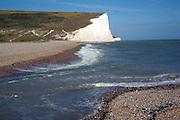 Chalk cliffs of the Seven Sisters from Cuckmere river mouth, East Sussex, England