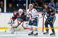 KELOWNA, CANADA - SEPTEMBER 5: Jackson Shepard #9 of the Kamloops Blazers looks for the pass in front of  Kyle Pow #21 and Brodan Salmond #31 of the Kelowna Rockets on September 5, 2017 at Prospera Place in Kelowna, British Columbia, Canada.  (Photo by Marissa Baecker/Shoot the Breeze)  *** Local Caption ***