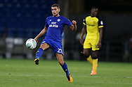 Stuart O'Keefe of Cardiff city © in action.Carabao Cup 2nd round match, Cardiff city v Burton Albion at the Cardiff City Stadium in Cardiff, South Wales on Tuesday 22nd August  2017.<br /> pic by Andrew Orchard, Andrew Orchard sports photography.