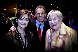Prime Minister Tony Blair and his wife Cherie with Coronation Street star Vara Duckworth (sorry don't know her real name) at the Granda Studios where they are holding the Itv party  PRESS ASSOCIATION Photo. Picture date:Wednesday 27th September  , 2006. Photo credit should read: Andrew Parsons/PA. POOL