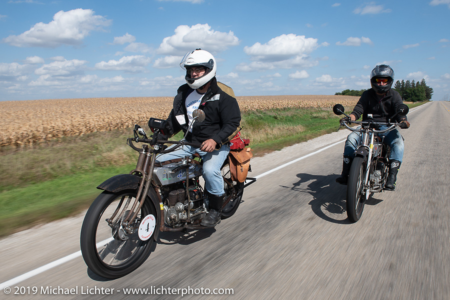 Mark Hill riding with his son Loring on their 4-cylinder Hendersons in the Motorcycle Cannonball coast to coast vintage run. Stage 7 (274 miles) from Cedar Rapids to Spirit Lake, IA. Friday September 14, 2018. Photography ©2018 Michael Lichter.