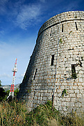 Forteca, the English-built Fort Wellington, on the hill of Sveti Vlaho, with television tower in background. Island of Korcula, Croatia