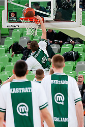 Gezim Morina of Union Olimpija during warming up prior to the basketball match between KK Union Olimpija and Unics Kazan (RUS) of 10th Round in Group D of Regular season of Euroleague 2011/2012 on December 21, 2011, in Arena Stozice, Ljubljana, Slovenia. (Photo by Matic Klansek Velej / Sportida)