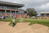 Joaquin Niemann (CHL) hits from the trap on 18 during Round 3 of the Valero Texas Open, AT&T Oaks Course, TPC San Antonio, San Antonio, Texas, USA. 4/21/2018.<br /> Picture: Golffile   Ken Murray<br /> <br /> <br /> All photo usage must carry mandatory copyright credit (© Golffile   Ken Murray)