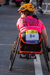 Boston Marathon: BAA 5K road race, wheelchair athlete at start,