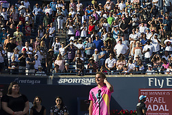 TORONTO, Aug. 13, 2018  Stefanos Tsitsipas of Greece listens to fans singsing ''Happy Birthday Song'' for him after the men's singles final match against Rafael Nadal of Spain at the 2018 Rogers Cup in Toronto, Canada, Aug. 12, 2018. Stefanos Tsitsipas lost 0-2. (Credit Image: © Zhz/Xinhua via ZUMA Wire)