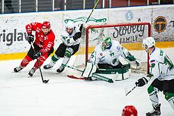 JEZOVSEK Zan vs HOLSA Paavo during Alps League Ice Hockey match between HDD SIJ Jesenice and HK SZ Olimpija on January 2, 2021 in Ice Arena Podmezakla, Jesenice, Slovenia. Photo by Peter Podobnik / Sportida