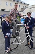 Catherine Connolly TD, Paul O'Donnell An Mheitheal Rothar and Deputy Mayor Cllr Neill McNeilus  at the opening of the Galway Bike Festival on Saturday. Photo:-XPOURE.IE / NO FEE