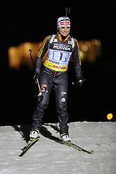 28.12.2013, Veltins Arena, Gelsenkirchen, GER, IBU Biathlon, Biathlon World Team Challenge 2013, im Bild Andrea Henkel (Deutschland / Germany) bei der Vorstellung der Athleten // during the IBU Biathlon World Team Challenge 2013 at the Veltins Arena in Gelsenkirchen, Germany on 2013/12/28. EXPA Pictures © 2013, PhotoCredit: EXPA/ Eibner-Pressefoto/ Schueler<br /> <br /> *****ATTENTION - OUT of GER*****