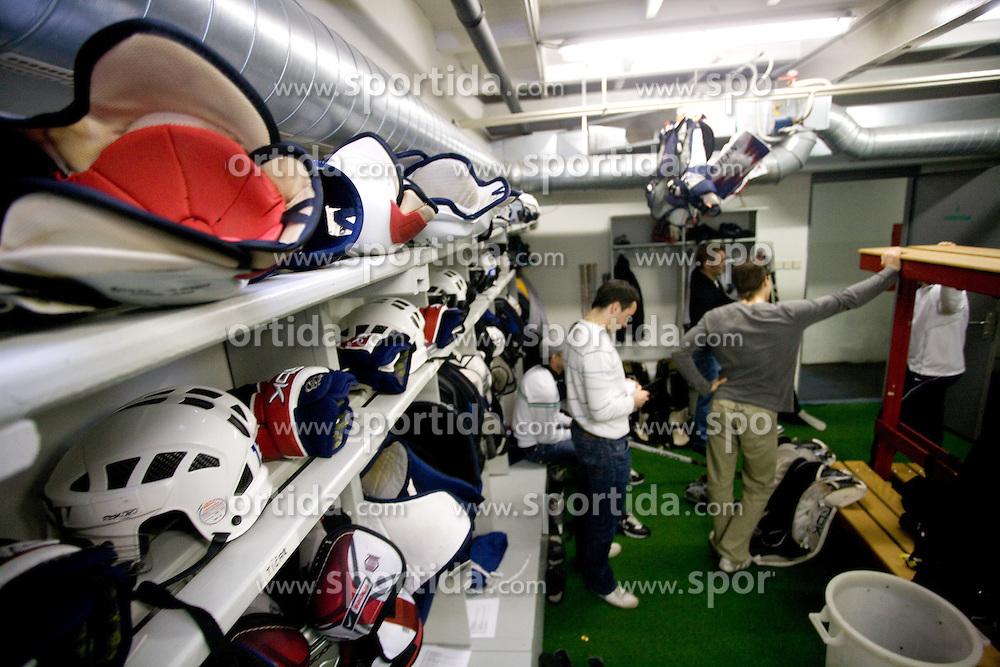 Players in wardrobe at first practice of Slovenian National Ice hockey team before World championship of Division I - group B in Ljubljana, on April 5, 2010, in Hala Tivoli, Ljubljana, Slovenia.  (Photo by Vid Ponikvar / Sportida)