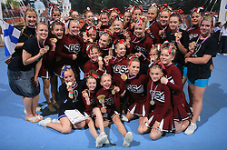 Golden Spirit Whitelighters, Finland placed 1st place in category Cheer all female - junior during final ceremony at second day of European Cheerleading Championship 2008, on July 6, 2008, in Arena Tivoli, Ljubljana, Slovenia. (Photo by Vid Ponikvar / Sportal Images).