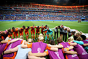 LYON, FRANCE - JULY 03: Sari Van Weenendaal of the Netherlands speaks to her teammtaes during a team huddle prior to the 2019 FIFA Women's World Cup France Semi Final match between Netherlands and Sweden at Stade de Lyon on July 03, 2019 in Lyon, France. (Photo by Maddie Meyer - FIFA/FIFA via Getty Images)