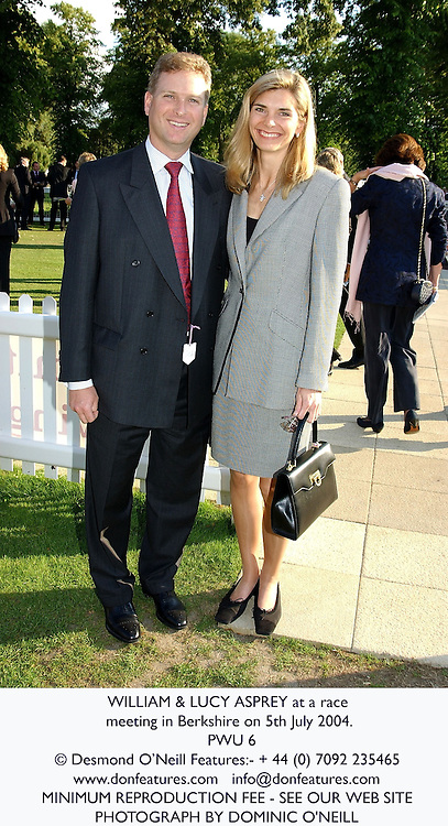WILLIAM & LUCY ASPREY at a race meeting in Berkshire on 5th July 2004.<br /> PWU 6