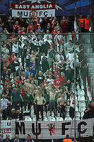 Fans of Manchester United celebrate after the first goal during the UEFA Champions League, Group H, soccer match against CFR Cluj, at Dr. Constantin Radulescu Stadium in Cluj-Napoca, Romania, 2 October 2012.