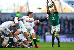 England's Ben Youngs kick is blocked down by Ireland's Paul O'Connell  - Photo mandatory by-line: Ken Sutton/JMP - Mobile: 07966 386802 - 01/03/2015 - SPORT - Rugby - Dublin - Aviva Stadium - Ireland v England - Six Nations