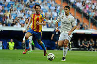 Real Madrid´s Chicharito and Valencia´s Paco Alcacer during 2014-15 La Liga match between Real Madrid and Valencia at Santiago Bernabeu stadium in Madrid, Spain. May 09, 2015. (ALTERPHOTOS/Luis Fernandez)