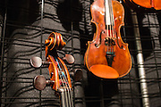 Instruments in the booth at Paul Dulude, a Boston dealer in musical instruments.