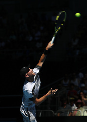 MELBOURNE, Jan. 14, 2019  Adrian Mannarino of France serves during.    men's single's match between Kevin Anderson of South Africa and Adrian Mannarino of France at the 2019 Australian Open at Melbourne Park in Melbourne, Australia, on Jan. 14, 2019.  Kevin Anderson won 3-1. (Credit Image: © Bai Xuefei/Xinhua via ZUMA Wire)