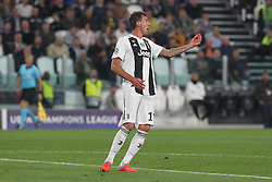 October 2, 2018 - Turin, Piedmont, Italy - Mario Mandzukic (Juventus FC) during the Juventus FC UEFA Champions League match between Juventus FC and Berner Sport Club Young Boys at Allianz Stadium on October 02, 2018 in Turin, Italy..Juventus won 3-0 over Young Boys. (Credit Image: © Massimiliano Ferraro/NurPhoto/ZUMA Press)