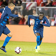 EAST HARTFORD, CONNECTICUT- October 16th:   Bobby Wood #7 of the United States and Tim Weah #11 of the United States in action during the United States Vs Peru International Friendly soccer match at Pratt & Whitney Stadium, Rentschler Field on October 16th 2018 in East Hartford, Connecticut. (Photo by Tim Clayton/Corbis via Getty Images)