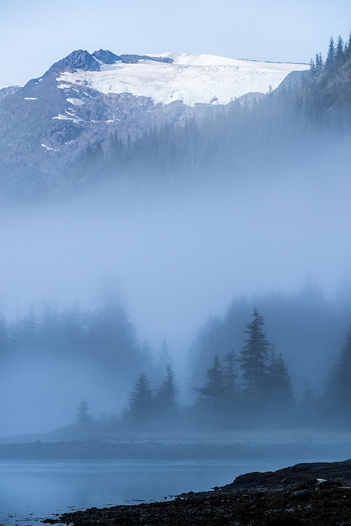 Morning mist in Fords Terror, a glacial fiord in Southeast Alaska.