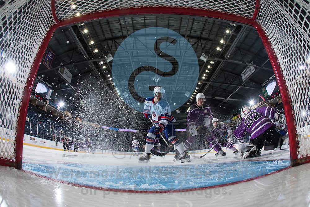 The Youngstown Phantoms defeat Team USA U-18 5-2 at the Covelli Centre on January 30, 2021.<br /> <br /> Mattias Sholl, goalie, 32; Bayard Hall, defenseman, 5