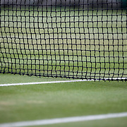 LONDON, ENGLAND - JULY 13:  The net and grass on an outer court during the Wimbledon Lawn Tennis Championships at the All England Lawn Tennis and Croquet Club at Wimbledon on July 13, 2017 in London, England. (Photo by Tim Clayton/Corbis via Getty Images)