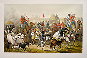 Troops of the Native Allies Lithograph from the book Campaign in India 1857-58 Illustrating the military operations before Delhi ; 26 Hand coloured Lithographed plates. by George Francklin Atkinson Published by Day & Son Lithographers to the Queen in 1859