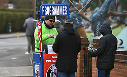 Programme seller outside The Valley Stadium