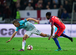 Roman Bezjak of Slovenia vs Danny Rose of England during football match between National teams of Slovenia and England in Round #3 of FIFA World Cup Russia 2018 Qualifier Group F, on October 11, 2016 in SRC Stozice, Ljubljana, Slovenia. Photo by Vid Ponikvar / Sportida