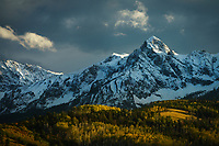 Dramatic storm light over the sneffles range in the San Juan Mountains, Colorado