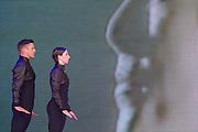 Michael Clark Dance perform on the Pyramid stage. The 2015 Glastonbury Festival, Worthy Farm, Glastonbury.