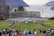 West Point, New York - The United States Corps of Cadets Pipes & Drums performs at the 32nd annual West Point Military Tattoo at Trophy Point at the United States Military Academy on April 13, 2014. The United States Corps of Cadets Pipes & Drums is a bagpipe, drum, and dance ensemble.