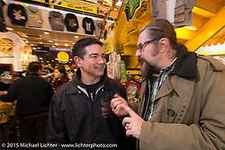 Mooneyes' Steve Sare with LowRide editor Giuseppe Roncen at the Mooneyes Yokohama Hot Rod & Custom Show after-party at Mooneyes headquarters. Yokohama, Japan. December 7, 2015.  Photography ©2015 Michael Lichter.