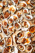 New York, NY - April 27, 2019: Shuck Like A Rock Star, an Oyster & Champagne Social hosted by Rifko Meier of Oysters XO and featuring canapés by Chef Nicole Gajadhar and champagne by Nicolas Feuillatte Champagne at The James Beard House in Greenwich Village.<br /> <br /> Photo by Clay Williams for The James Beard Foundation.<br /> <br /> © Clay Williams / http://claywilliamsphoto.com