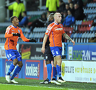 David Cotterill (right) of Birmingham City celebrates his goal during the Sky Bet Championship match at the John Smiths Stadium, Huddersfield<br /> Picture by Graham Crowther/Focus Images Ltd +44 7763 140036<br /> 20/12/2014