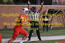 15 October 2016:  Side Judge Dorran Stewart signals a touch down by Anthony Warrum. NCAA FCS Football game between Southern Illinois Salukis and Illinois State Redbirds at Hancock Stadium in Normal IL (Photo by Alan Look)